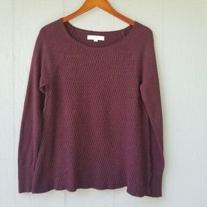 Loft Dark Purple Knit Long Sleeve Crew Sweater M